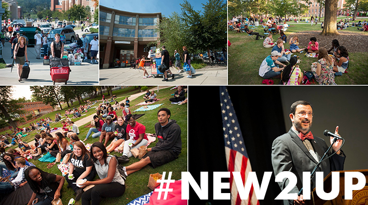 Scenes from IUP move-in and the start of the academic year with hashtag #new2iup