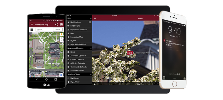 IUP Mobile running on an Android phone, and iPad, and an iPhone