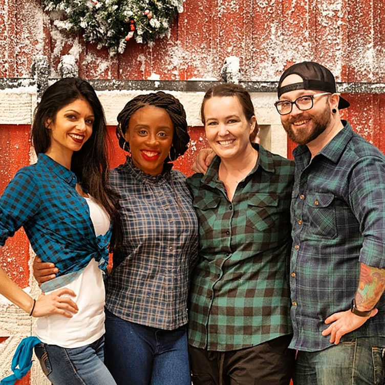 Chef Baindu Squire '07 and her team on the Holiday Wars set