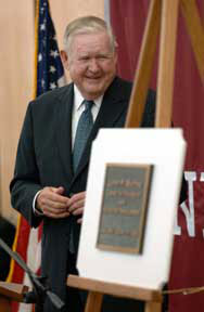 John Murtha during the 2005 unveiling of the Northpointe building plaque in his honor
