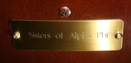 Sisters of Alpha Phi plaque