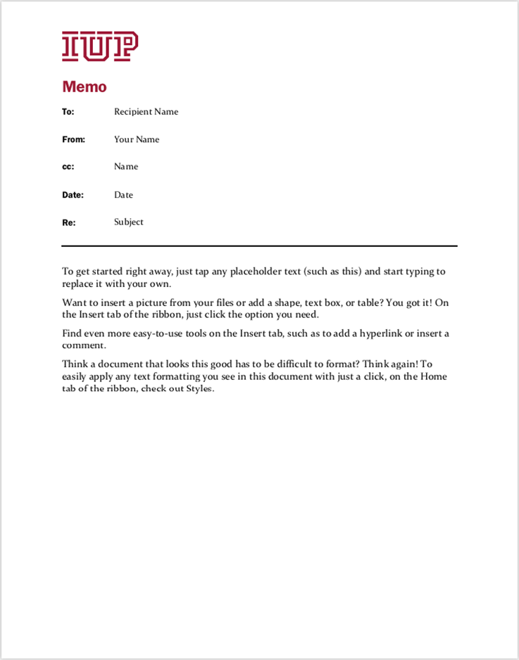 Simple Memo Template Sample