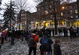 A crowd gathered around Sutton Hall's east porch during the annual tree-lighting ceremony December 2, 2010.