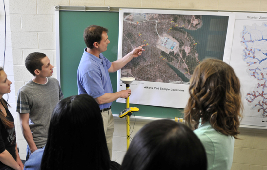Geography and Regional Planning Professor John Benhart recreates a class on mapping with GPS equipment.
