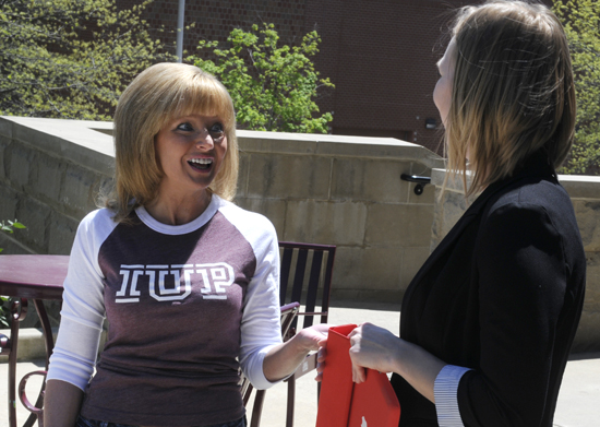 Staff members also participated as extras. Mary Jo Lyttle, Director of Alumni Relations, acted as an extra in the move-in day scene.