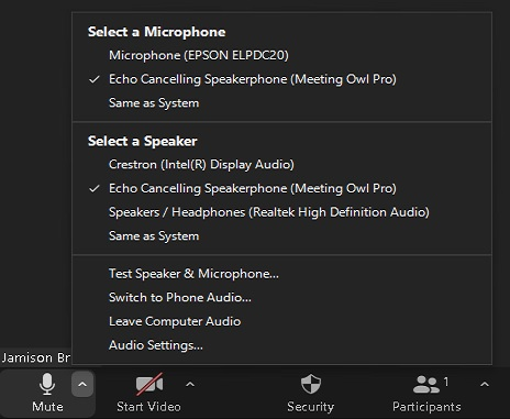 Owl Camera Selecting Microphone and Audio