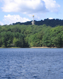 Beaver Run Reservoir with a drill rig in the distance