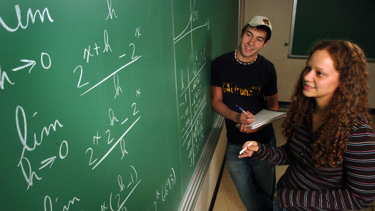 Students in a math classroom