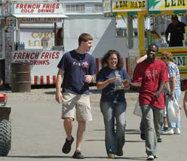 Students attending the Indiana County Fair at the beginning of the Fall semester