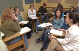 Students interact during English class