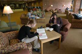 Students studying in the alcove of the Stapleton Library