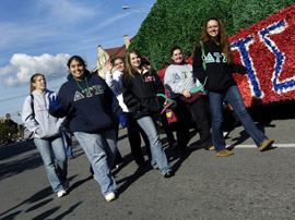 Sorority students take part in the annual Homecoming parade