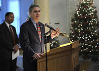 Chancellor John Cavanaugh addressed IUP employees during the Holiday Open House on December 3, 2009