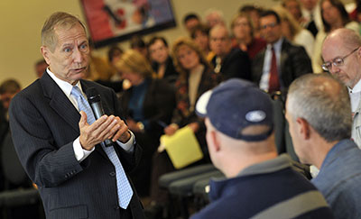 David Werner, interim president, addressed a crowd of about 125 during his second open forum for employees on Friday, October 1, 2010, in the Crimson Event Center.