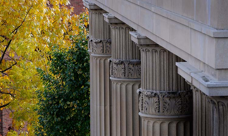 The pillars outside Fisher Auditorium