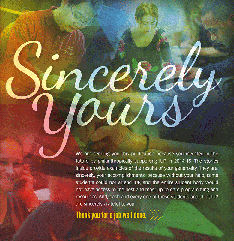 Sincerely Yours: Donor report cover