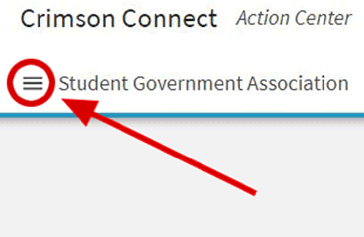 Click the menu icon to the left of the organization name