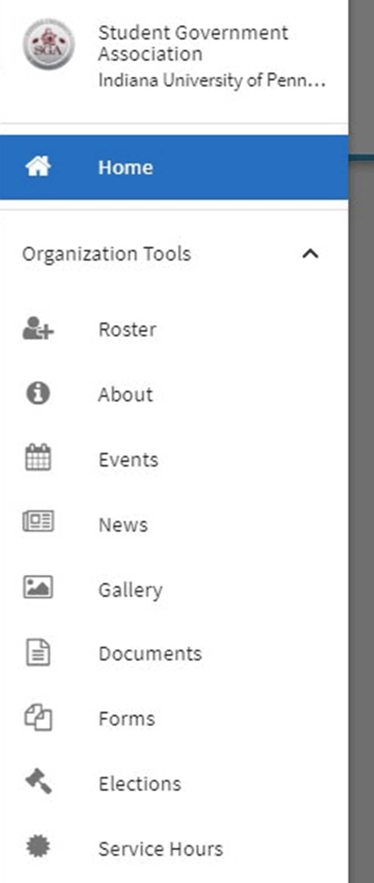 Menu showing organization tools