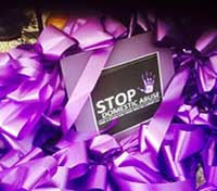 Stop Domestic Abuse - purple ribbons