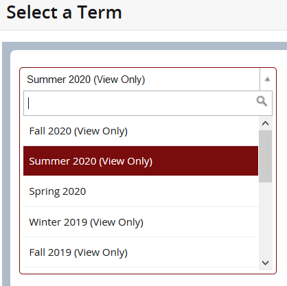 Choosing summer courses screenshot