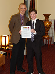 "David ""DJ"" Gress was named winner of the ArtsPath regional final for the 2013 Poetry Out Loud competition"