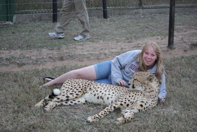 Allison Moore and a cheetah during the 2013 trip to southern Africa