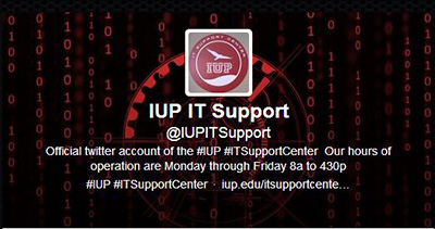 The IUP IT Support Center office hours are Monday–Friday 8:00 a.m.–4:30 p.m.